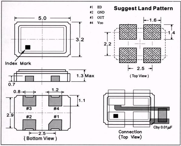 SMD(OSC)50324P晶振(消费类电子用) 特性 是综合频率允许偏差为 30ppm 的产品。 尺寸53.21.2mm 超小型、量轻。 可对应同样尺寸的晶体谐振器难以实现的低频(从0.32MHz起)。 缠带包装方式可对应自动搭载及IR回流焊接(无铅对应)。 为无铅产品。 规格  可根据客户指定的频率及工作温度范围等规格进行生产,所以请放心地联系我公司的销售人员。 外部尺寸